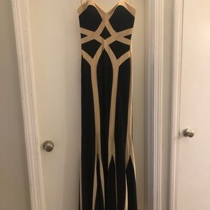 Classic Faviana black and beige gown